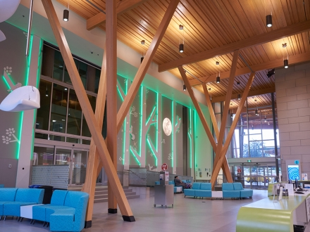Lighting enhances canopy entrance and lobby at Teck Acute Care Centre