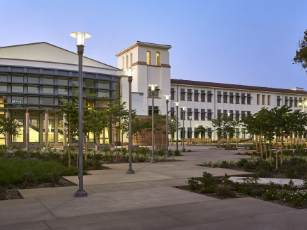 High school lighting design blends modern aesthetic with historic campus origins  - San Diego