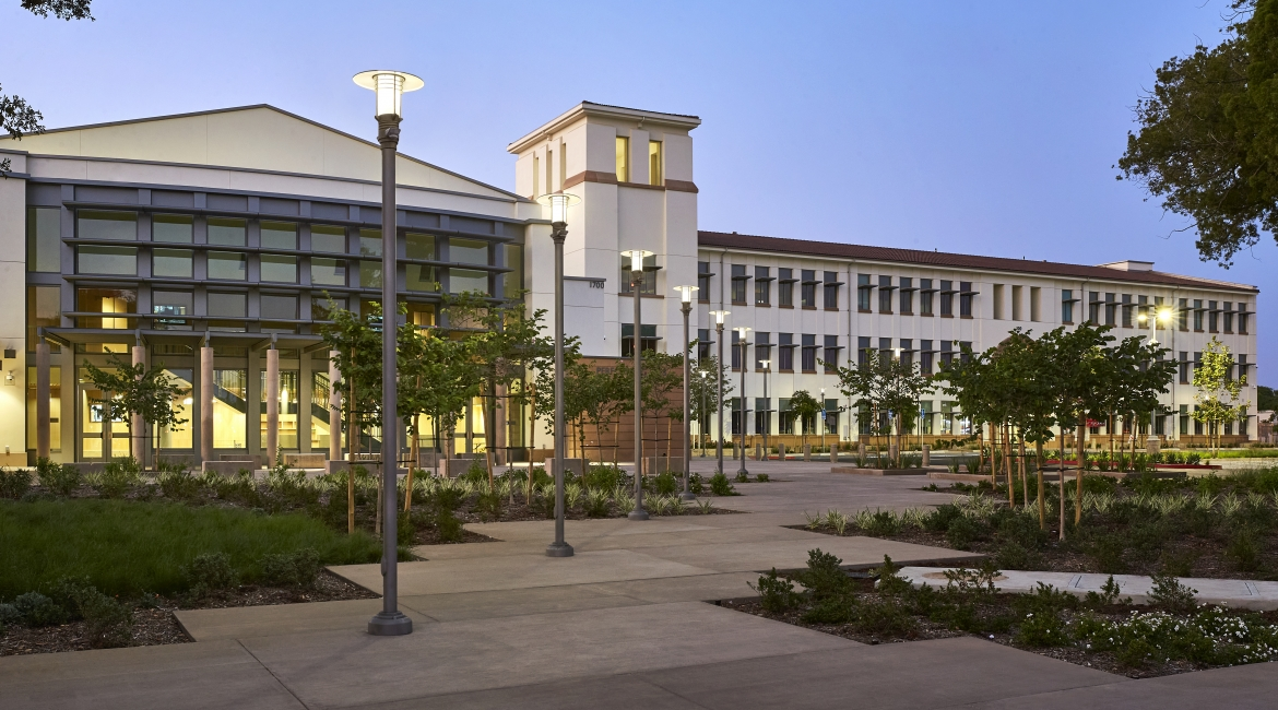 High school lighting design blends modern aesthetic with historic campus origins